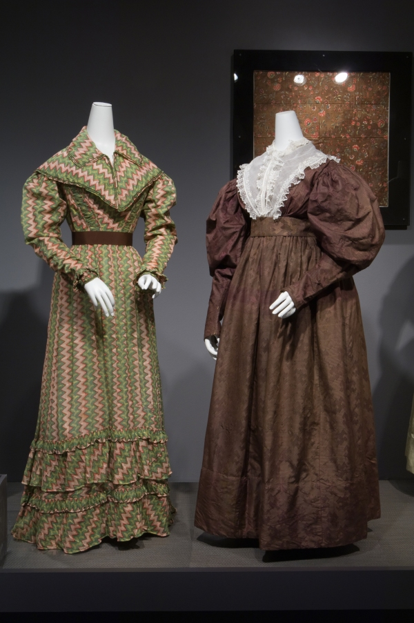 1821 roller-printed cotton dress, 1830 jacquard-woven silk dress