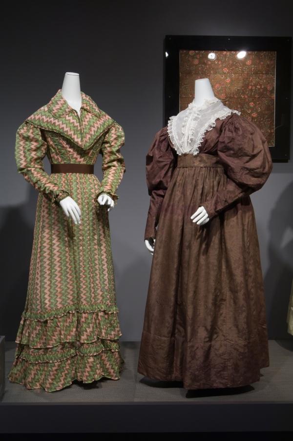 1821 roller-printed cotton dress, 1830 jacquard-woven silk dress